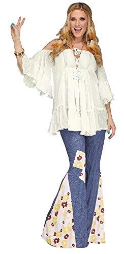shoperama Schulterfreie Hippie Bluse Weiß für Damen-Kostüm Gr. M/L Oberteil Top Shirt 60er 70er Jahre Woodstock 70ties 60ties