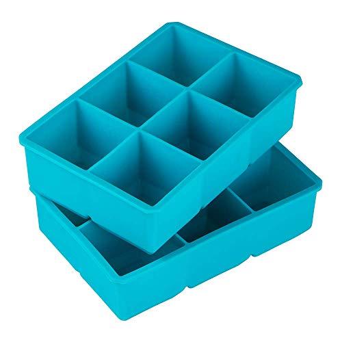 Webake 2 stuks IJsblokjesvorm siliconen groot 6-voudig ijsblokjes BPA-vrij ijsblokjesvorm 5 x 5 cm voor bier, cocktails, whisky, water, soda, fruit, pudding of babyvoeding