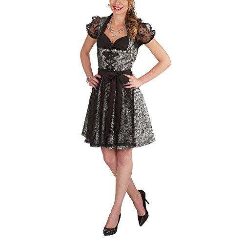 Andrea Moden Gothic Dirndl 3tlg. Kleid Bluse Schürze 50cm Rockteil zum Oktoberfest Karneval schwarz Silber - 36