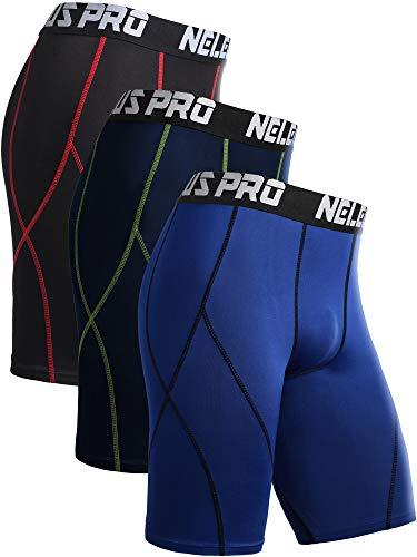 Neleus Men's 3 Pack Sport Running Compression Shorts,6012,Black (Red Stripe),Blue,Navy Blue,US L,EU XL