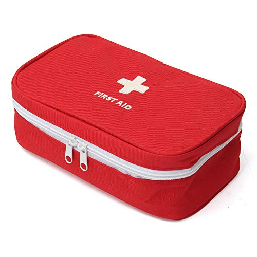 Inditradition Emergency First Aid Kit Pouch (Empty) | Multi-Layer Travel Medicine Pouch, 23x13 CM (Red)