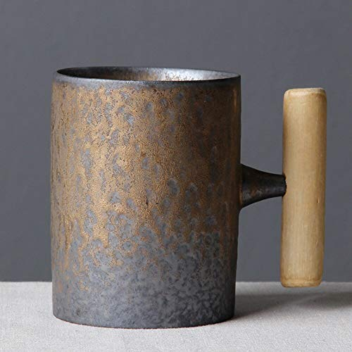 N / D MJMDQCC Creative Ceramic Coffee Mug Tumbler Rust Glaze with Wooden Handle Tea Milk Beer Water Cup Home Office Drinkware 300ML