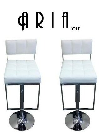 South Mission Aria Modern Adjustable Leather Bar Stool (Set of 2) - White