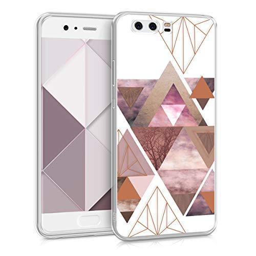 kwmobile Carcasa Compatible con Huawei P10 - Funda de TPU y triángulos en Rosa Claro/Oro Rosa/Blanco