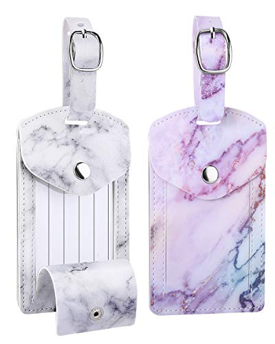 Dadanism Luggage Tag, 2 Packs Baggage Tag with Extended Strap Travel ID Label Synthetic Leather Name ID Label with Privacy Cover for Baggage Suitcase - White Marble & Purple Marble