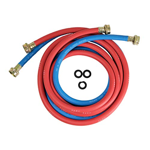 Highcraft CNCT25612L Line, for Hot and Cold Water Supply, Washing Machine Hose Connector EPDM Rubber Tube Cover 12 Ft (Pack of 2 1, Red/Blue