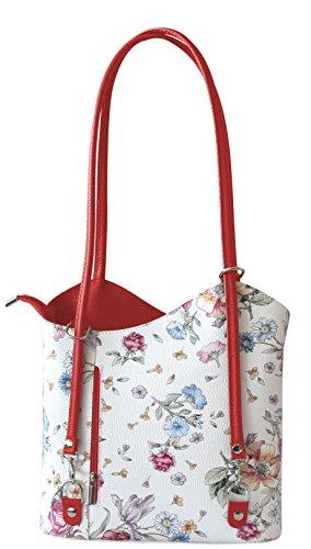 Rucksack Handtaschen 2 in 1 Damentaschen Ledertasche Lederrucksack Designer Luxus Henkeltasche mit Blumenmuster Tasche aus Echt Leder (Rot/Red)