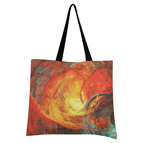 JinDoDo Bolsa de lona abstracta con patrón de sol llamando, reutilizable, bolsa de lona para ir de compras, viajes, escuela