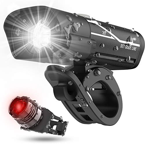 Lxl Usb Rechargeable Bike Headlight and Back Light Set, Runtime 10+ Hours 600 Lumen Bright Front Lights and Tail Rear Led, 5 Light Mode Options Fits All Bicycles, Mountain