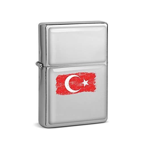 SPIRITSHIRTSHOP Distressed Türkei Flagge | Sturmfeuerzeug Benzinfeuerzeug Feuerzeug Chrom | Geschenk Geschenkidee | Lange Lebenszeit Nachfüllbar