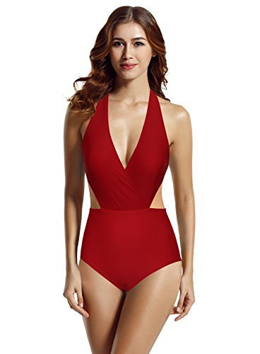 zeraca Women's Surplice Neckline High Waisted Halter One Piece Monokini Bathing Suit (Dark Red, Small / 6)
