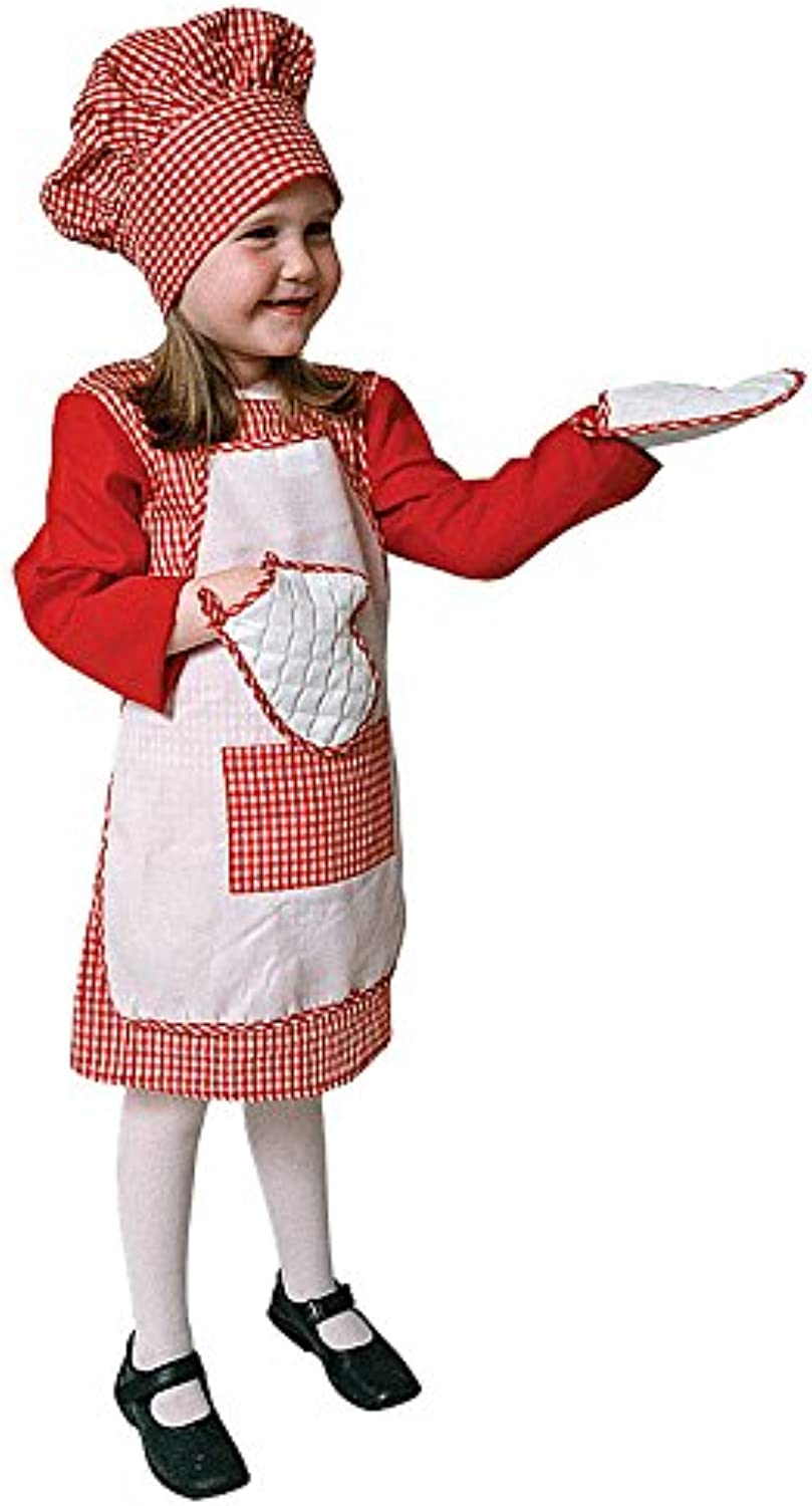 Red Gingham Girl Chef Costume Set - Toddler T4
