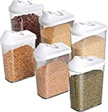 S3 CREATIONS Cereal Dispenser Kitchen Storage Jars Plastic Container (1700 ml, Pack of 6)