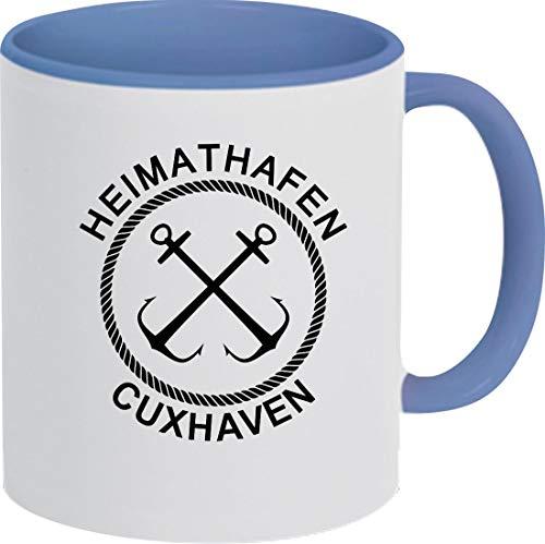Shirtinstyle Kaffeepott, Kaffeetasse Heimathafen Cuxhaven Anker Nordsee Ostsee, Urlaub, Heimat Familie Zuhaus, Liebe, Ort, City, Pott, Tee, Spruch, Sprüche, Logo, Royal