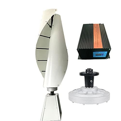 FLTXNY POWER Turbina Eólica 1000W 24V Aerogenerador Vertical Pequeño Generador de Viento de Uso Doméstico VAWT, Molino de Viento de 2 Palas con controlador de carga híbrido
