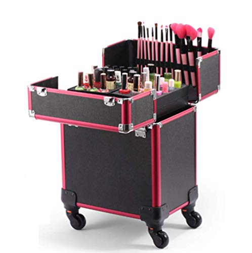 DDL 2-In-1 Aluminum Cosmetic Case Professional Large Capacity Beauty Rollling Trolley Box Vanity Cosm