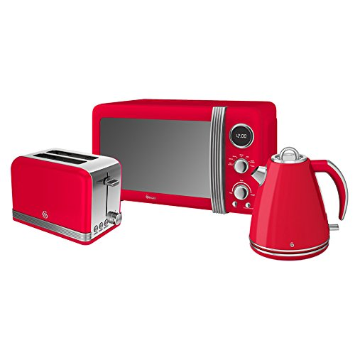 Retro Kitchen Pack by Swan - Digital Microwave 800w 20L, Jug Kettle 1.5L and Toaster - 3 Appliances for A Modern Kitchen Design (Red)