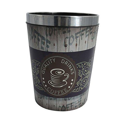 LVPY Papierkörbe, Vintage Papierkörbe Wasserdicht Groß PU Leder Abfalleimer Mülleimer Mülltonne Papierkorb mit Metall Preßring- Kaffee