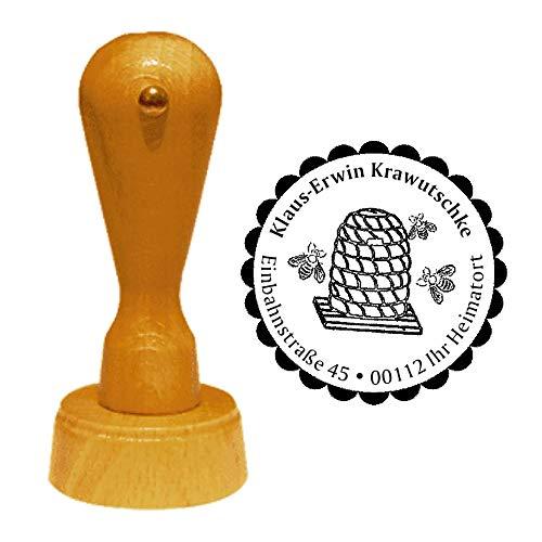 Stempel Adressstempel « IMKER - BIENENKORB » Durchmesser ca. Ø 40 mm - mit persönlicher Adresse, Motiv und Zierrand - Beruf Imkerei Bienenstock