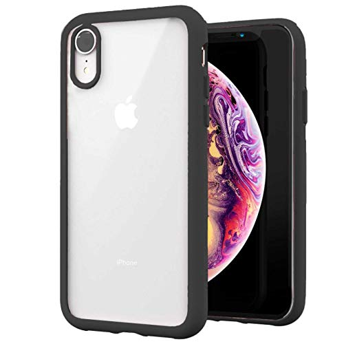 Case Compatible with iPhone Xs/iPhone X, Clear Design Transparent Plastic Hard Back Case with Soft TPU Bumper Protective Case Cover for iPhone X/iPhone Xs-Black