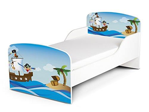 Leomark Cama Infantil Completa de Madera - Piratas II - Marco de Cama, Colchón, Somier, Blanco Muebles para Niños, Moderno Dormitorio, Espacio para Dormir: 140/70 cm