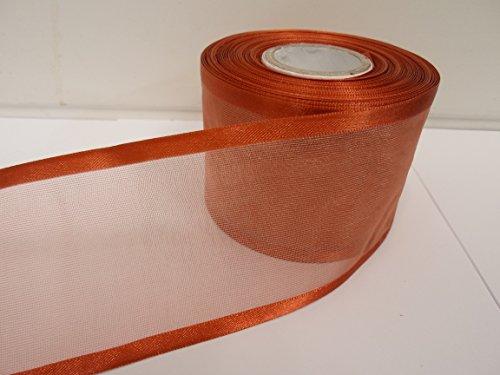 Beautiful Ribbon 1 Rouleau de 70 mm 7cm avivés Ruban Organza x 25 mètres l'or de cuivre Double Face Satin Edge Pure 70 mm