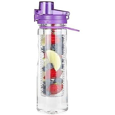 Infusion Water Bottle Leak Proof Flip-top Sport Water Bottle BPA-Free Tritan 25 Oz (Purple)