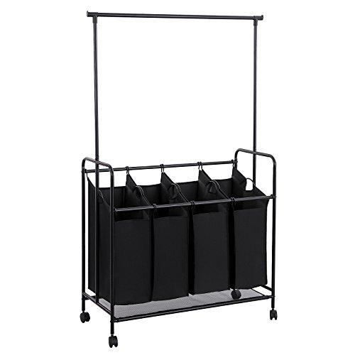 SONGMICS 4-Bag Laundry Sorter, Rolling Laundry Cart with Hanging Bar, Heavy-Duty Wheels, Black URLS44B