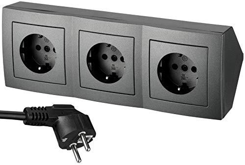 Regleta de 3 enchufes para esquina, con cable de alimentación, 230 V, 16 A, 3600 W, T1, color antracita