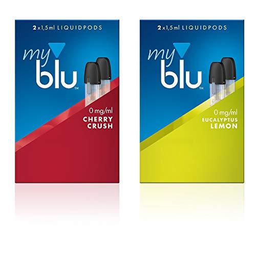 2 x Doppelset Liquids Geschmack Cherry Crush und Eukalyptus Lemon - Ohne Nikotin - mit eingebautem Verdampfer für Elektronische Zigarette Myblu + Original Zubehör Gratis
