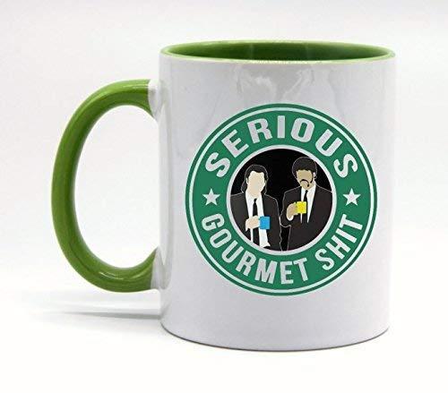 N\A Taza de café o Taza de té Serious Gourmet Shit de 11 onzas Blanco Verde