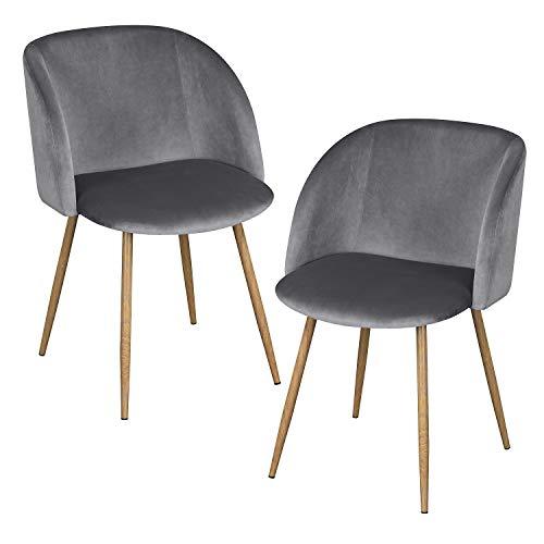 EGGREE Set di 2 Sedie da Pranzo in Velluto Vintage Poltrona Scandinave,Seduta e Schienale Imbottiti,Gambe in Metallo Stile Legno,Grigio