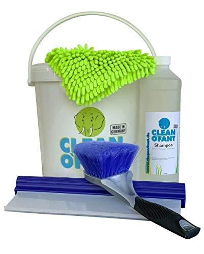 CLEANOFANT Camper Wasch- & Pflege-Set inkl. Wascheimer mit Deckel | Außen Reinigungsset für Wohnwagen Wohnmobil Caravan