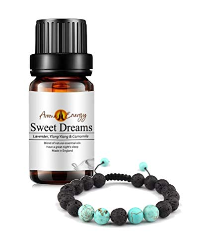 Lava Stone Aromatherapy Diffuser Bracelet and Sweet Dreams Essential Oil 10ml (Blend of Lavender, Ylang Ylang & Chamomile)