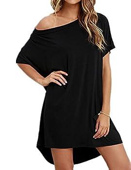 Haola Women Loose T Shirts Home Short Shirt Mini Dresses Tops M Black