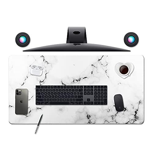 Desk Size Mouse Pad Office Mousepad Large Decorative Mouse Pads X-Large Gaming Mouse Mat Rubber Base Stiched Edges XXL XXXL Gamepad for PC Laptop Computer Simple Design Marble HD Print (02White)