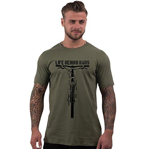 Men's Life Behind Bars Mountain Biking T Shirt Olive XL