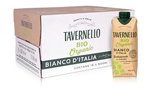 Tavernello Bio Organic - Vino Bianco d'Italia - Confezione da 15 Brik da 500 ml