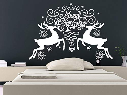 Mery Christmas Double Reindeers with Pretty Snowflakes Adesivo murale Anno nuovo vinile Cute Wallpaper 56x81cm