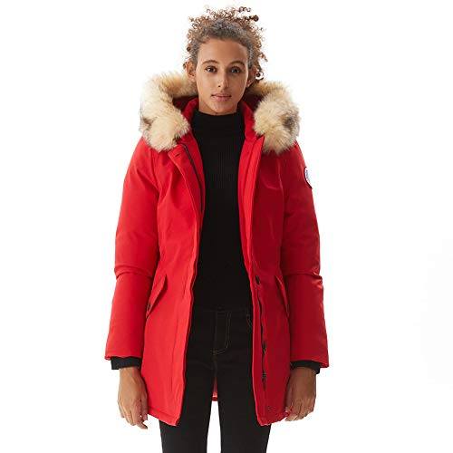 PUREMSX Women's Warm Winter Coats Ladies Cold Weather Windproof Insulated Warm Overcoat Hooded Parkas Thicken Faux Fur Outwear Ski Jacket Coat with Fur Hood Gifts for Wife Clearance,Red,Medium