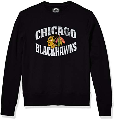 OTS NHL Chicago Blackhawks Men's Fleece Crew, Distressed Marbleton, Large