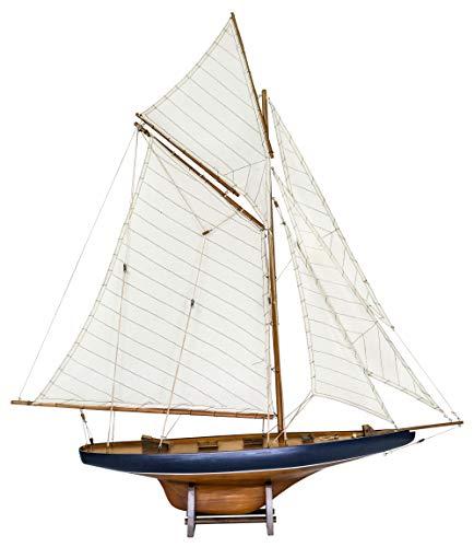 rc sailboat models SAILINGSTORY Wooden Sailboat Model Ship Sailboat Decor Yacht Model America's Cup Columbia 1901 Replica Medium