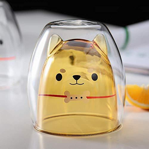 Kreative doppelschichtige Kaffeetasse Niedlich Shiba Inu Glas Cartoon Kind Milchtasse Damen Milch Tee Tasse Netz Rot Shiba Inu Fun Glas