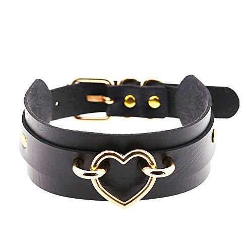 Jurxy Breit Lederhalsband Halskette Herz Form Damen Leder Choker Metall Ring Halsband Gotik Punk Rock Lederband Einstellbar Kragen - Schwarz mit Gold Herz