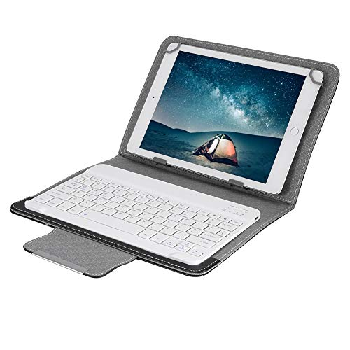 Camidy PU Protective Tablet Case Cover + Bluetooth Keyboard for 10 inch Universal Tablet Laptop Android/IOS/WIN