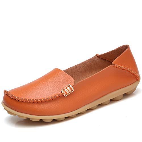 DUOYANGJIASHA Women's Comfortable Leather Loafers Casual Round Toe Moccasins Wild Driving Flats Soft Walking Shoes Women Slip On Orange