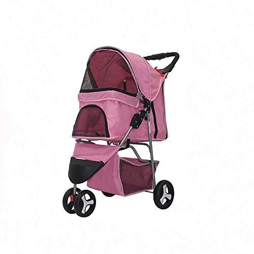 Foldable Pet Dog Stroller, 3 Wheels Pet Stroller with Weather Cover & Storage Basket Travel Folding Carrier for Dog and cat (Pink)