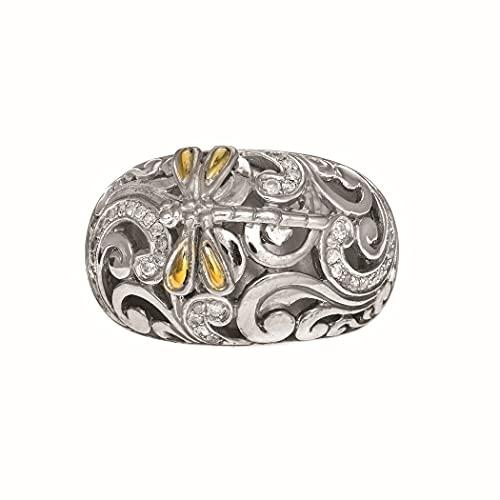 Anillo de plata de ley 925, oro de 18 quilates, corte brillante, libélula texturizada y bizantina, tamaño L, 1/2, joyería de regalo para mujeres
