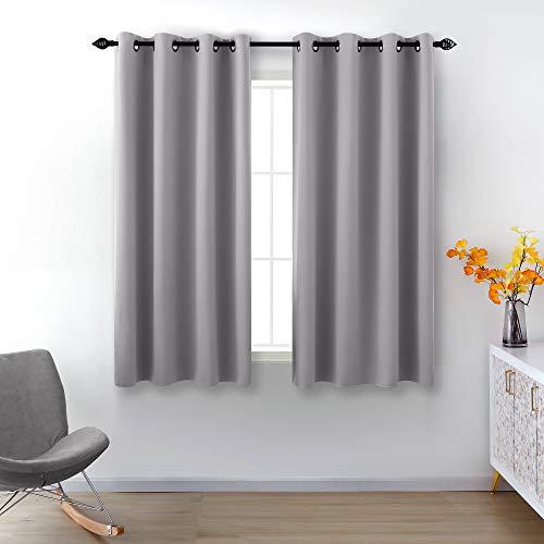 Medium Grey Blackout Curtains 45 Inch Length for Small Windows 2 Panel Sets Grommet Blackout Short Curtain Panels Light Gray