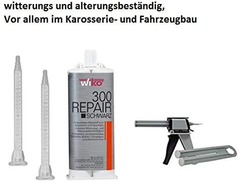 2K PUR Industriekleber Kunststoffkleber Kunststoffreparatur GFK Klebstoff SCHWARZ 50 ml inkl. 2 Mixtüllen und Pistole für Karosserie- und Fahrzeugbau